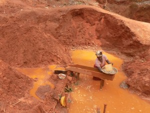 Woman mining gold